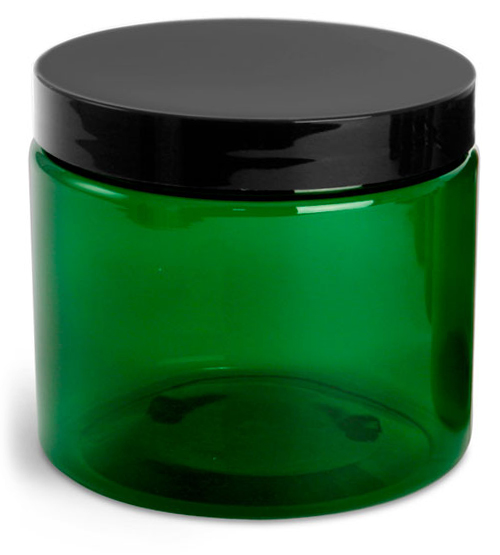 16 oz Green PET Jars w/ Black Smooth Lined Caps