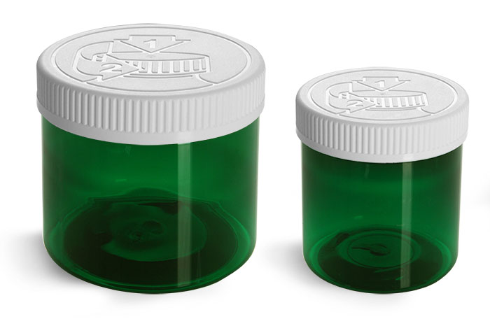 Green PET Jars w/ White Child Resistant Caps