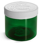 Plastic Jars, Green PET Straight Sided Jars w/ White Child Resistant Caps