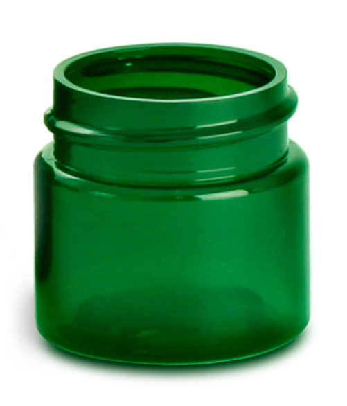 1/2 oz Green PET Straight Sided Jars  (Bulk), Caps Not Included