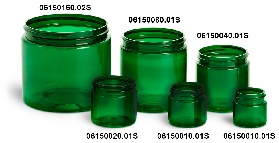 Plastic Jars, Green PET Straight Sided Jars  (Bulk) Caps Not Included