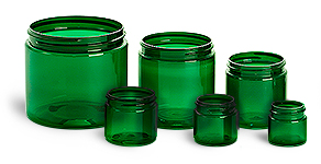 16 oz Green PET Straight Sided Jars  (Bulk), Caps Not Included