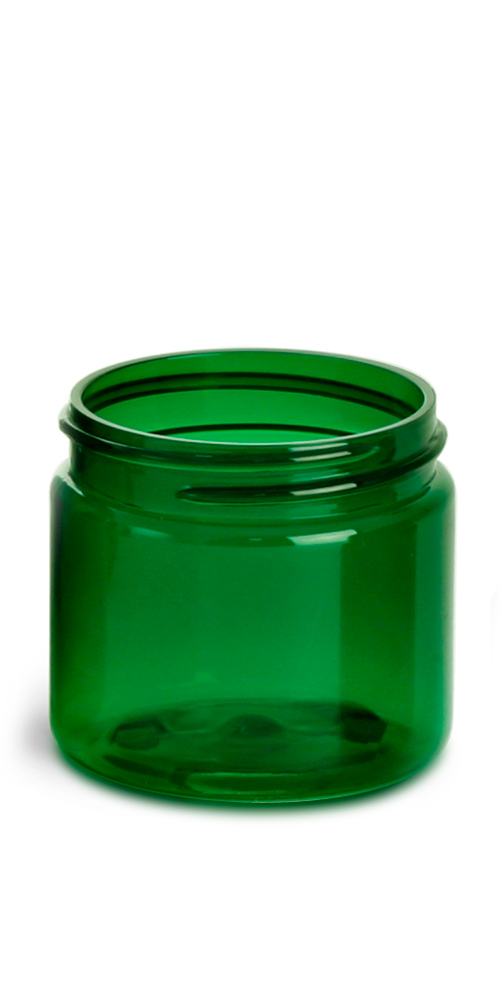 2 oz Green PET Straight Sided Jars  (Bulk), Caps Not Included