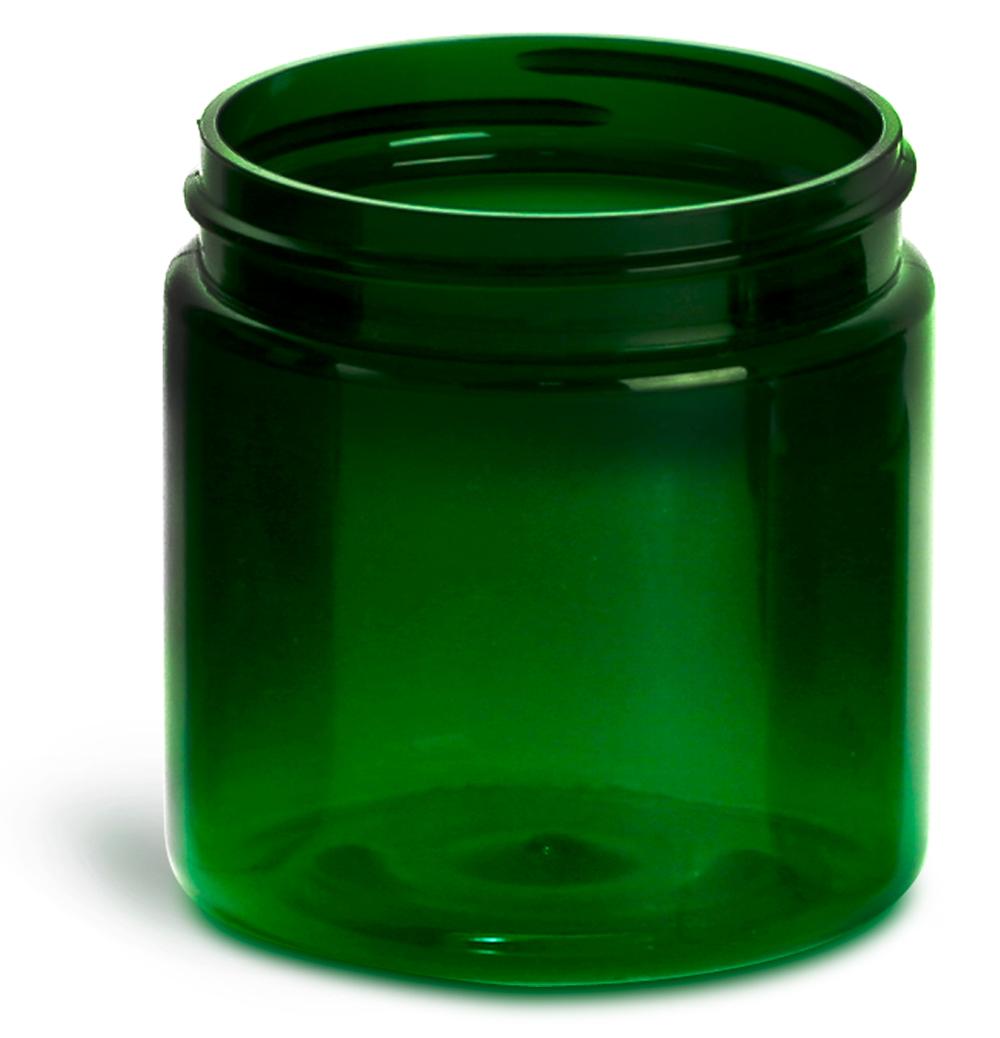 4 oz Plastic Jars, Green PET Straight Sided Jars (Bulk), Caps Not Included