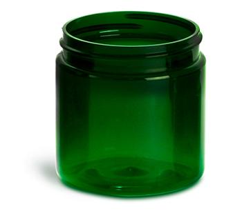 Plastic Jars, 4 oz Green PET Straight Sided Jars (Bulk), Caps Not Included