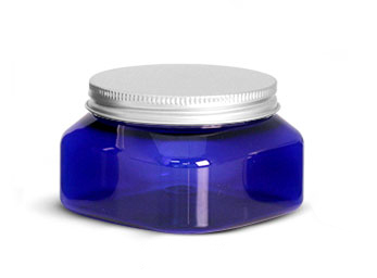 PET Plastic Jars, Blue Square Jars w/ Aluminum Lined Caps