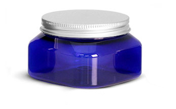 Plastic Jars, Blue PET Square Jars w/ Aluminum Lined Caps
