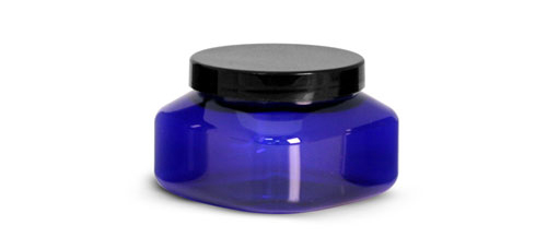 PET Plastic Jars, Blue Square Jars w/ Black Smooth Plastic Lined Caps