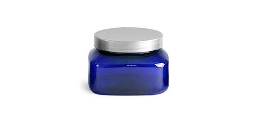 Plastic Jars, Blue PET Square Jars w/ Silver Smooth Plastic Lined Caps