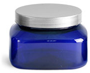 PET Plastic Jars, Blue Square Jars w/ Silver Smooth Lined Caps