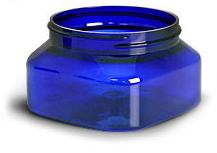 Blue PET Square Jars (Bulk), Caps Not Included