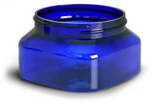 Blue PET Square Jars (Bulk), Caps Not Included