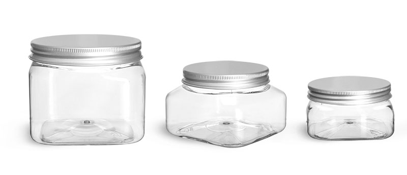 PET Plastic Jars, Clear Square Jars w/ Lined Aluminum Caps'