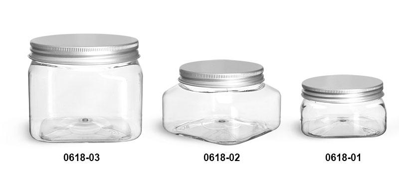 Plastic Jars, Clear PET Square Jars w/ Lined Aluminum Caps