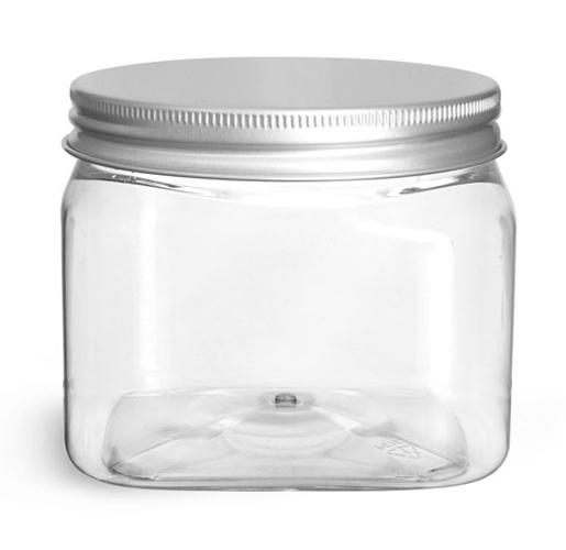 16 oz Clear PET Square Jars w/ Lined Aluminum Caps