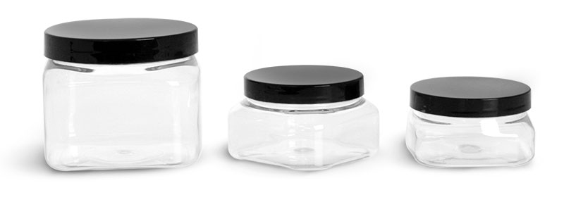 PET Plastic Jars, Clear Square Jars w/ Black Smooth PS22 Plastic Lined Caps'