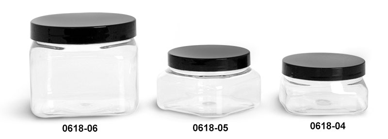 Plastic Jars, Clear PET Square Jars w/ Black Smooth PS22 Plastic Lined Caps