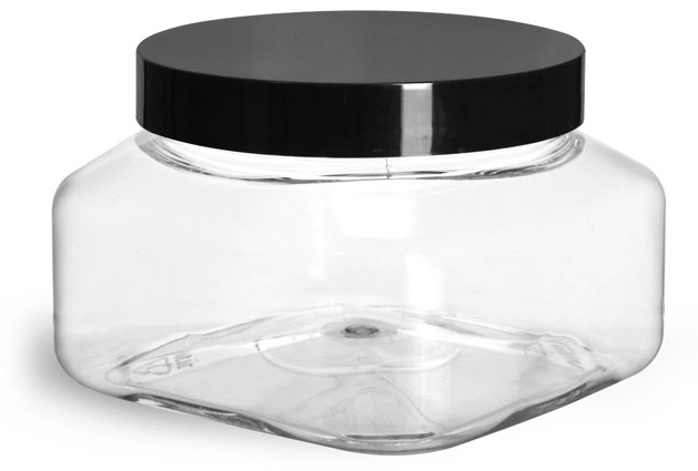 Clear PET Square Jars w/ Black Smooth PS22 Plastic Lined Caps
