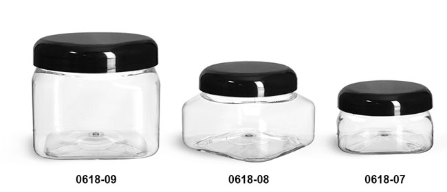 Plastic Jars, Clear PET Square Jars w/ Black Smooth Plastic Lined Dome Caps