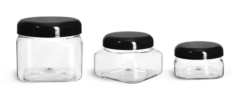 PET Plastic Jars, Clear Square Jars w/ Black Smooth Plastic Lined Dome Caps