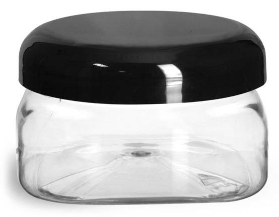 4 oz Clear PET Square Jars w/ Black Smooth Plastic Lined Dome Caps