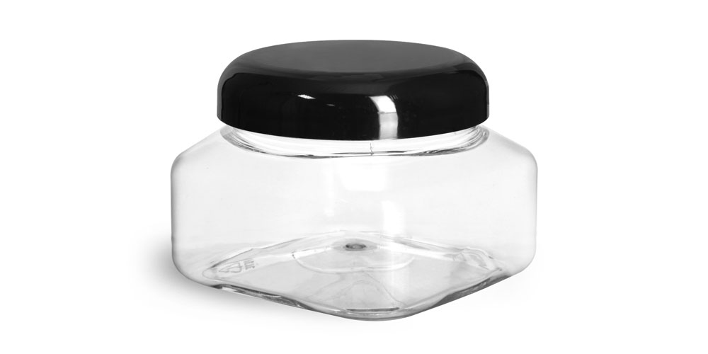8 oz Clear PET Square Jars w/ Black Smooth Plastic Lined Dome Caps