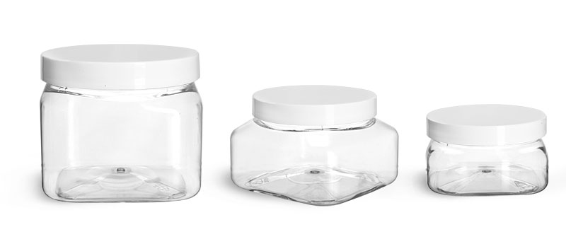 PET Plastic Jars, Clear Square Jars w/ White Smooth F217 Lined Plastic Caps'