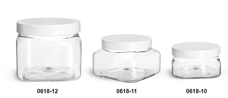 Plastic Jars, Clear PET Square Jars w/ White Smooth F217 Lined Plastic Caps