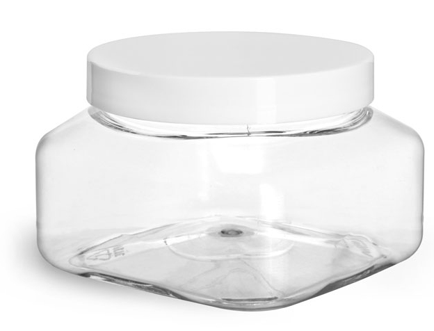 Clear PET Square Jars w/ White Smooth PE Lined Caps