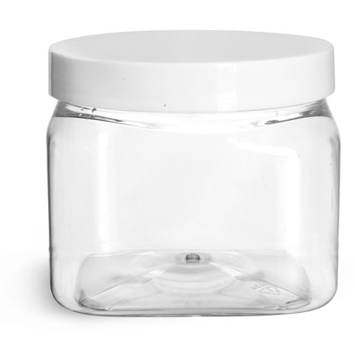 16 oz Clear PET Square Jars w/ White Smooth PE Lined Caps