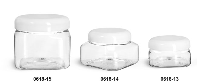 Plastic Jars, Clear PET Square Jars w/ White Smooth Plastic Lined Dome Caps