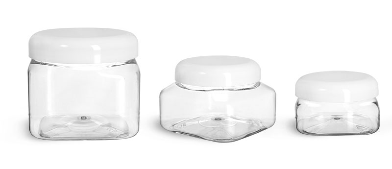 PET Plastic Jars, Clear Square Jars w/ White Smooth Plastic Lined Dome Caps'