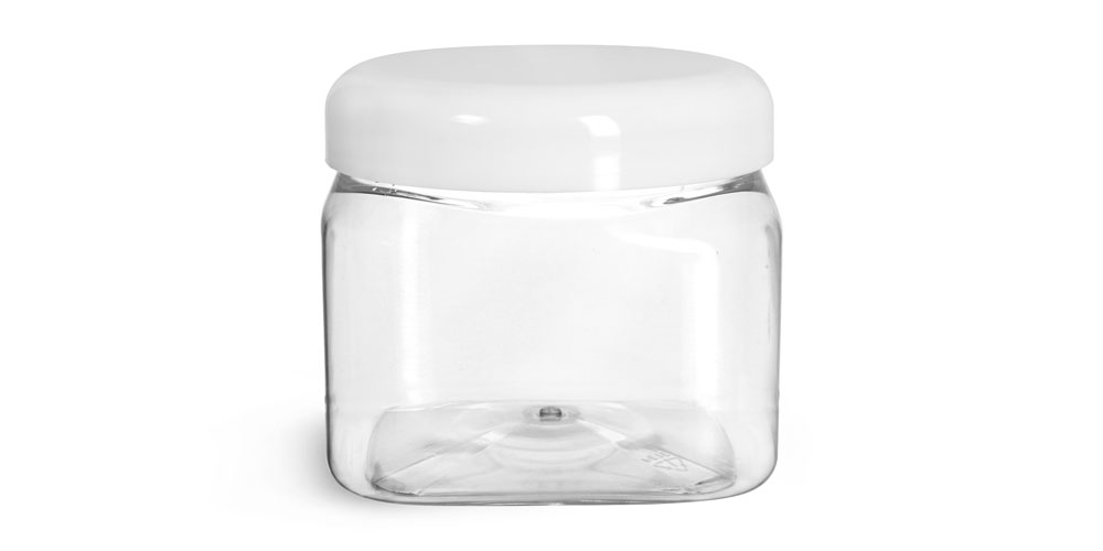 16 oz Plastic Jars, Clear PET Square Jars w/ White Smooth Plastic Lined Dome Caps