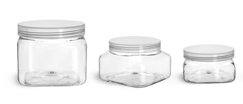 PET Plastic Jars, Clear Square Jars w/ Natural Unlined Caps