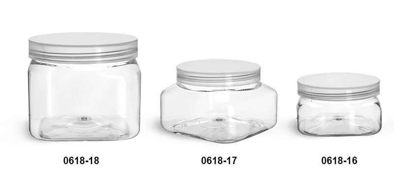 Plastic Jars, Clear PET Square Jars w/ Natural Unlined Caps