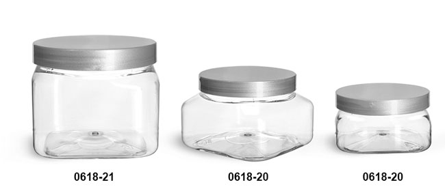 Plastic Jars, Clear PET Square Jars w/ Silver Smooth Plastic Lined Caps