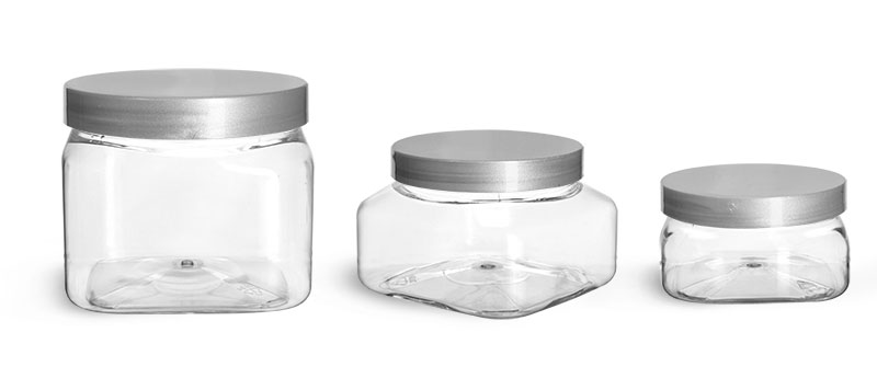 PET Plastic Jars, Clear Square Jars w/ Silver Smooth Lined Caps