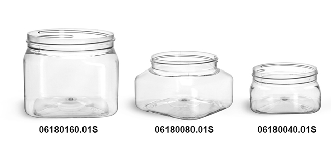 Clear PET Square Jars (Bulk), Caps Not Included