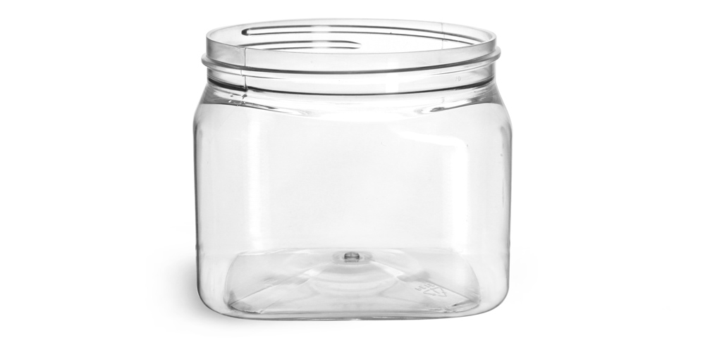 16 oz Clear PET Square Jars (Bulk), Caps Not Included