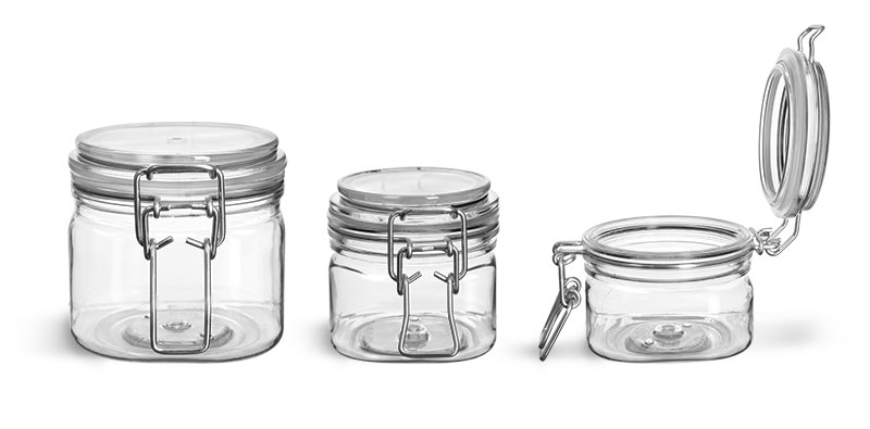 PET Plastic Jars, Clear Square Wire Bale Jars w/ Hinged Lids'