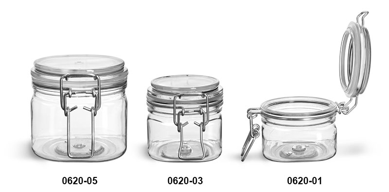 Plastic Jars, Clear PET Square Wire Bale Jars w/ Hinged Lids