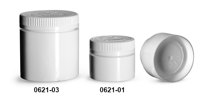 Plastic Jars, White Polypropylene Open Bottom Jars w/ White Child Resistant Caps