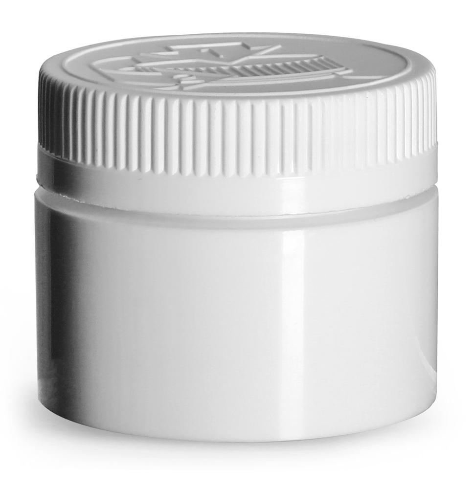 1.5 oz White Polypropylene Open Bottom Jars w/ White PE Lined Child Resistant Caps