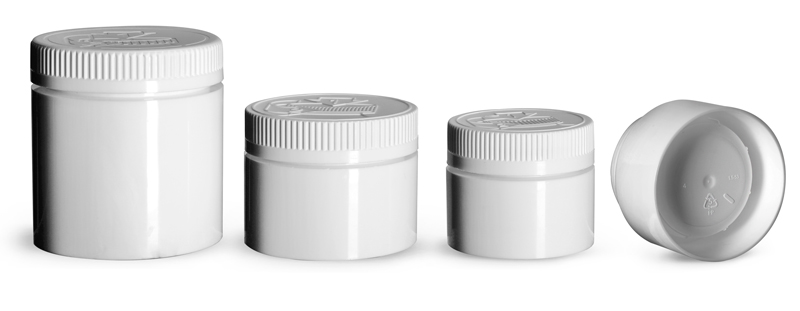 3 oz  Plastic Jars, White Polypropylene Open Bottom Jars w/ White Child Resistant Caps