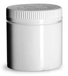 6 oz6 oz White Polypropylene Open Bottom Jars w/ White PE Lined Child Resistant Caps