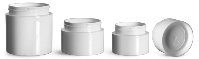 White Polypropylene Round Open Bottom Jars (Bulk), Caps Not Included