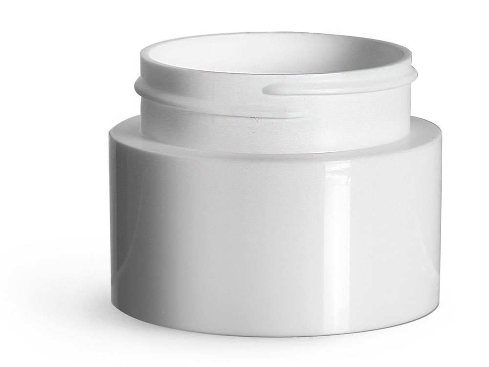 1.5 oz Plastic Jars, White Polypropylene Round Open Bottom Jars (Bulk), Caps Not Included