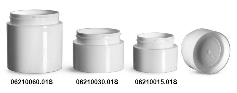 Plastic Jars, White Polypropylene Round Open Bottom Jars (Bulk), Caps Not Included