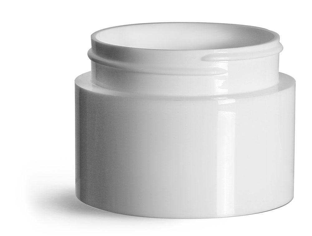 3 oz Plastic Jars, White Polypropylene Round Open Bottom Jars (Bulk), Caps Not Included