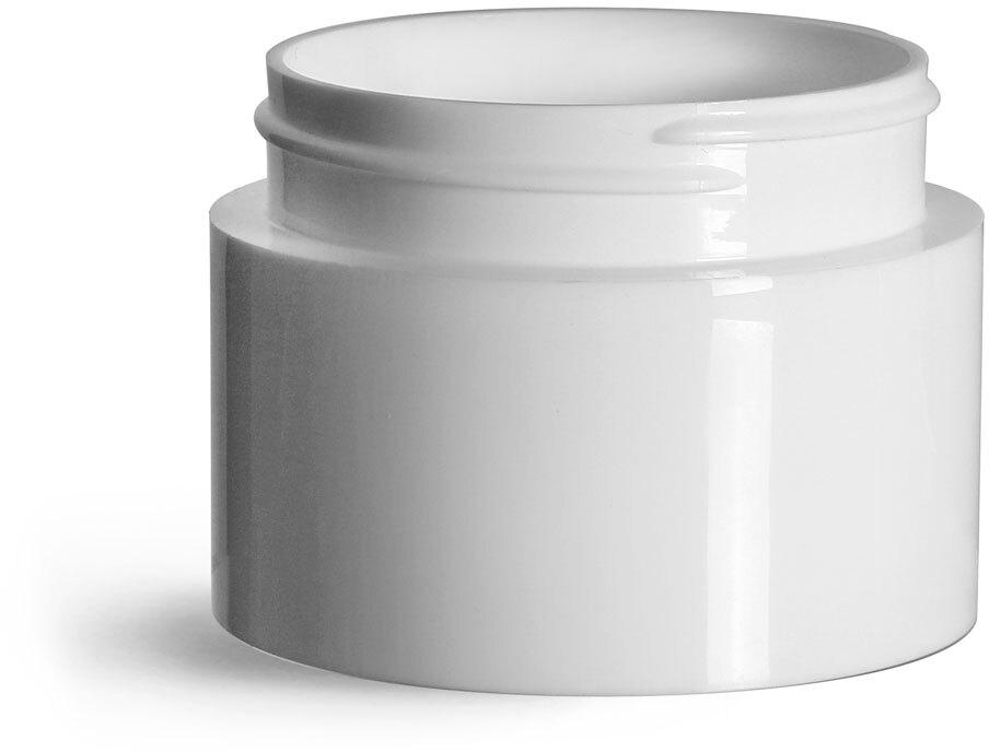 Plastic Jars, White Polypropylene Round Open Bottom Jars (Bulk), Caps Not Included